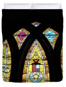 Gold Stained Glass Window Duvet Cover by Thomas Woolworth
