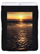 Golden Sunset On The Sand Beach Duvet Cover by Setsiri Silapasuwanchai