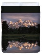 Grand Teton Range And Cloudy Sky Duvet Cover by Tim Fitzharris