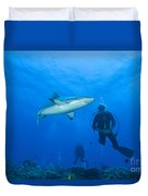 Gray Reef Shark With Divers, Papua New Duvet Cover by Steve Jones