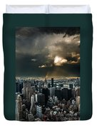 Great Skies Over Manhattan Duvet Cover by Hannes Cmarits