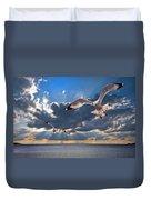 Greek Gulls With Sunbeams Duvet Cover by Meirion Matthias