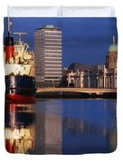 Guinness Boat, Custom House, Liberty Duvet Cover by The Irish Image Collection