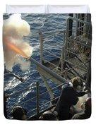 Gunners Mates Fire The .40mm Saluting Duvet Cover by Stocktrek Images