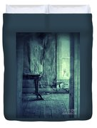 Hands On Window Of Creepy Old House Duvet Cover by Jill Battaglia