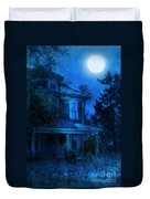 Haunted House Full Moon Duvet Cover by Jill Battaglia
