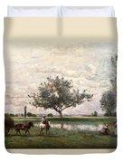 Haycart Beside A River  Duvet Cover by Jean Baptiste Camille Corot