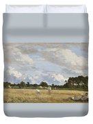 Haymaking Duvet Cover by Eugene Louis Boudin