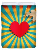 Heart And Cupid On Paper Texture Duvet Cover by Setsiri Silapasuwanchai