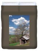 Hillside Weathered Barn Dramatic Spring Sky Duvet Cover by John Stephens