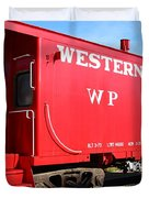 Historic Niles District in California Near Fremont . Western Pacific Caboose Train . 7D10627 Duvet Cover by Wingsdomain Art and Photography