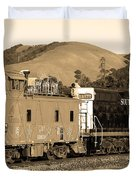 Historic Niles Trains in California.Southern Pacific Locomotive and Sante Fe Caboose.7D10843.sepia Duvet Cover by Wingsdomain Art and Photography
