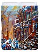 Hockey Art Montreal Streets Duvet Cover by Carole Spandau