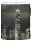 Hong Kong Light Show, At Night, Over Duvet Cover by Axiom Photographic
