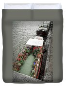 Houseboats In Paris Duvet Cover by Elena Elisseeva