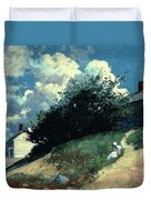 Houses On A Hill Duvet Cover by Winslow Homer