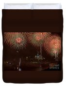 Hudson River Fireworks Xii Duvet Cover by Clarence Holmes