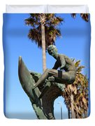 Huntington Beach Surfer Statue Duvet Cover by Paul Velgos
