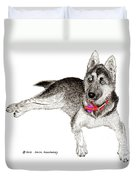 Husky With Blue Eyes And Red Collar Duvet Cover by Jack Pumphrey