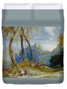 In The Hills Duvet Cover by Thomas Moran