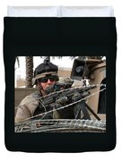 Iraqi And U.s. Soldiers Patrol The Al Duvet Cover by Stocktrek Images