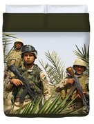 Iraqi Soldiers Conduct A Foot Patrol Duvet Cover by Stocktrek Images