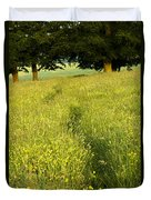 Ireland Trail Through Buttercup Meadow Duvet Cover by Peter McCabe