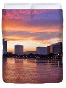 Jacksonville Skyline At Dusk Duvet Cover by Debra and Dave Vanderlaan