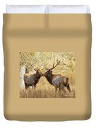 Junior Meets Bull Elk Duvet Cover by Robert Frederick