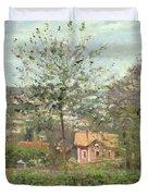 La Maison Rose Duvet Cover by Camille Pissarro