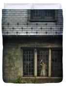 Lady By Window Of Tudor Mansion Duvet Cover by Jill Battaglia