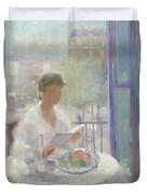 Lady Reading At An Open Window  Duvet Cover by Clementine Helene Dufau