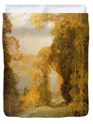 Lake Bourget From Mont Revard  Duvet Cover by Sir Alfred East