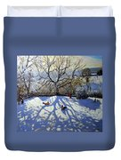 Large Tree And Tobogganers Duvet Cover by Andrew Macara