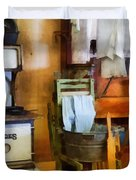 Laundry Drying in Kitchen Duvet Cover by Susan Savad
