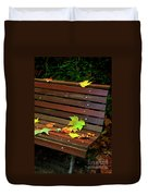 Leafs In Bench Duvet Cover by Carlos Caetano