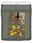 Leafs In Ground Duvet Cover by Carlos Caetano