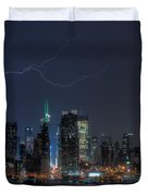 Lightning Over New York City IX Duvet Cover by Clarence Holmes