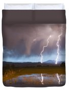 Lightning Striking Longs Peak Foothills Duvet Cover by James BO  Insogna