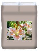 Lily Flowers Floral Prints Photography Orange Lilies Duvet Cover by Baslee Troutman