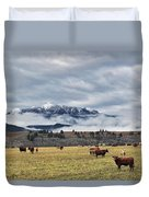 Livingstone Range And Pastureland Duvet Cover by Darwin Wiggett
