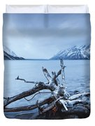Log Along The Shores Of Kathleen Lake Duvet Cover by Robert Postma