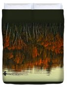 Loon In Opeongo Lake With Reflection Duvet Cover by Robert Postma