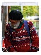 Man in a Red Sweater Duvet Cover by Lorraine Devon Wilke