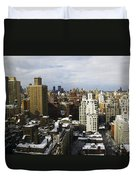 Manhattan View On A Winter Day Duvet Cover by Madeline Ellis