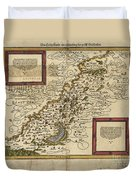 Map Of Palestine, 1588 Duvet Cover by Photo Researchers