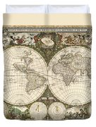Map Of The World, 1660 Duvet Cover by Photo Researchers