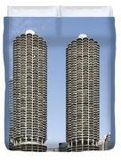Marina City Chicago - Life In A Corn Cob Duvet Cover by Christine Till