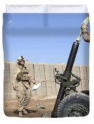 Marines Prepare To Fire A 120mm Mortar Duvet Cover by Stocktrek Images