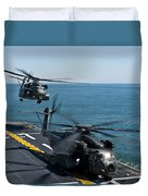 Mh-53e Sea Dragon Helicopters Take Duvet Cover by Stocktrek Images